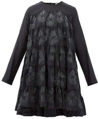 Merlette New York Soliman Sunburst-embroidered Cotton-blend Dress - Womens - Black