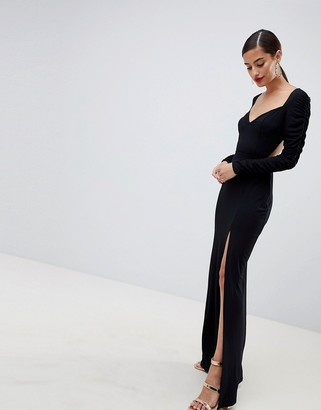 Asos DESIGN ruched sleeve open back sweetheart neck maxi dress