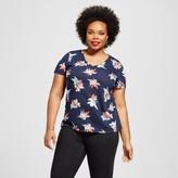 Ava & Viv Women's Plus Size V-Neck Floral T-Shirt Navy