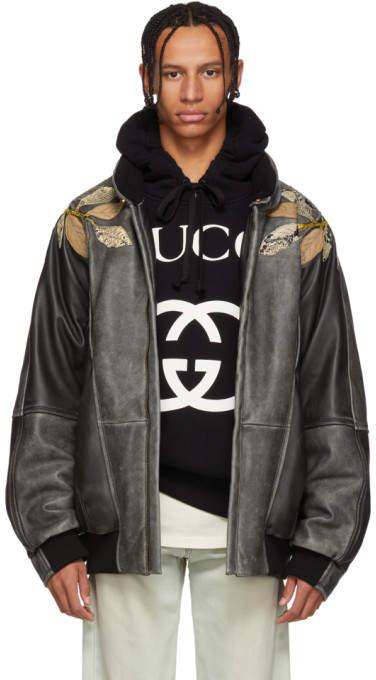 Gucci Black Leather Applique Bomber Jacket