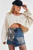 BDG Floral Patchwork Denim Mini Skirt