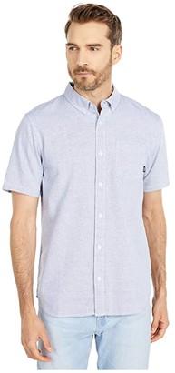 Vans Barnes Short Sleeve Woven (White/Dress Blues) Men's Clothing