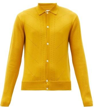 KING & TUCKFIELD Eyelet Merino-wool Cardigan - Dark Yellow