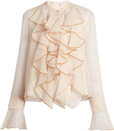 See by Chloe Ruffle-trimmed crépon blouse