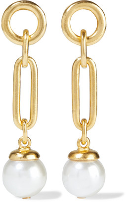 Ben-Amun 24-karat Gold-plated Faux Pearl Earrings