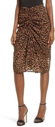 J.o.a. Leopard Print Ruched Skirt