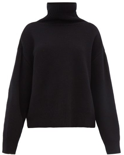Raey Cropped Displaced Sleeve Roll Neck Wool Sweater - Womens - Black