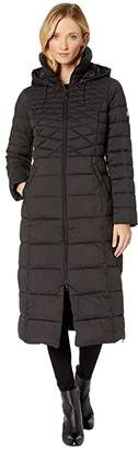 Bernardo Fashions EcoPlume Maxi Coat w/ Side Vent Zippers (Black) Women's Jacket