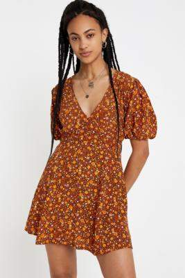 Faithfull The Brand Ilia Mini Dress - brown S at Urban Outfitters