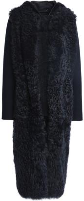 Yves Salomon Paneled Shearling Hooded Coat