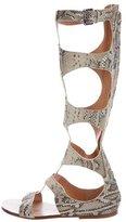 Sigerson Morrison Metallic Embossed Gladiator Sandals