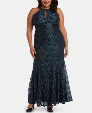 Night Way Nightway Plus Size Glitter Lace Gown