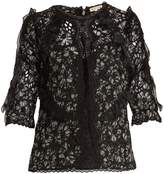 Rebecca Taylor Moonflower floral-print embroidered silk blouse