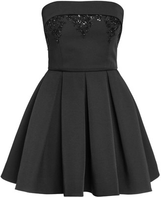Bandeau Embellished Pleated Skater Dress