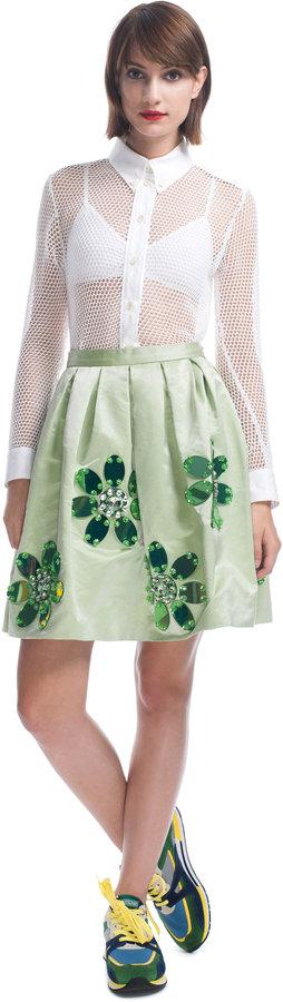 Moschino Cheap & Chic Embroidered Duchesse Satin Skirt