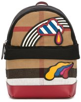 Burberry rainbow patch checked backpack - kids - Cotton/Jute - One Size