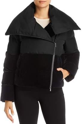 Giorgio Armani Short Velvet-Detail Puffer Coat