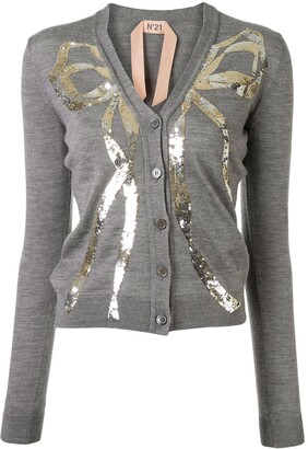 No.21 Sequin Embellished Bow Cardigan