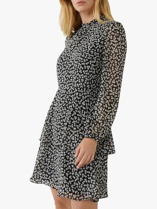 Warehouse Little Leaf Print Mini Dress, Black/Multi