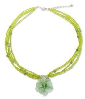 Novica Handmade 'Paradise Flower' Green Quartzite Necklace