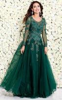 Shail K - Embroidered and Beaded Long Sleeve Scoop Neck Tulle A-line Gown 50192