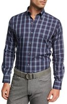 Peter Millar Crown Blackfoot Plaid Cotton Shirt, Navy