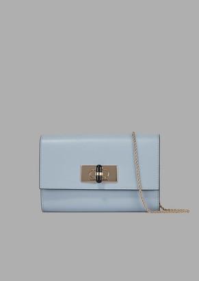 Giorgio Armani Borgonuovo 11 Leather Wallet Mini-Bag With Chain Strap And Twist Lock