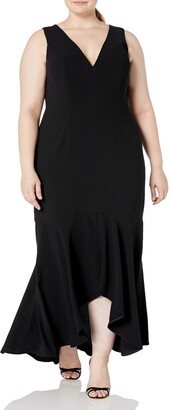 Dress the Population Women's Size Demi Plunging Hi-Lo Sleeveless Stretch Gown Dress Plus