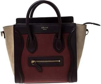 Celine Luggage Burgundy Leather Handbags