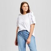 Who What Wear Women's Plus Size Ruffle Sleeve T-Shirt White