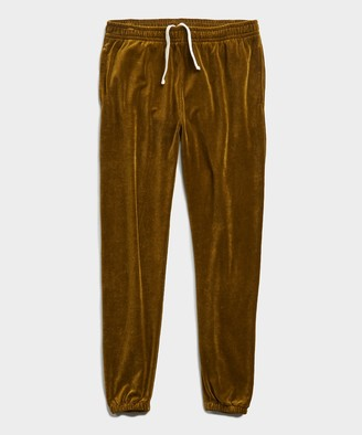 Todd Snyder Velour Classic Fit Sweatpant in Lime