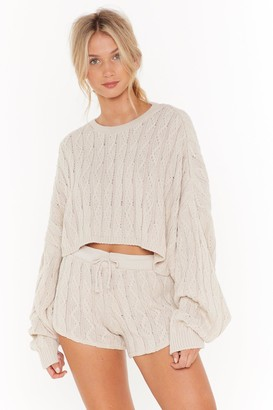Nasty Gal Womens Got Cable Knit Jumper and Shorts Lounge Set - Beige - 6, Beige