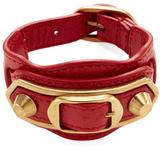 Balenciaga Studded Double Buckle Leather Bracelet