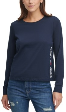Tommy Jeans Long-Sleeve Side-Logo T-Shirt