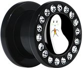 Body Candy Black Acrylic Candy Corn Ghost Screw Fit Plug Pair 00 Gauge