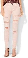 New York & Co. Soho Jeans - Destroyed Superstretch Legging - Soft Rose