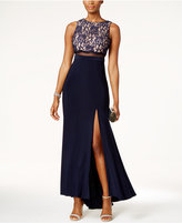Night Way Nightway Petite Lace Illusion-Waist Gown
