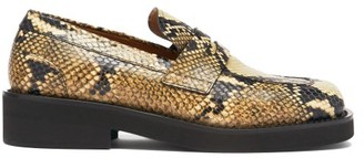 Marni Square-toe Python-effect Leather Penny Loafers - Python