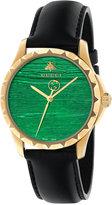 Gucci Women's Swiss G Timeless Black Leather Strap Watch 38mm YA126463