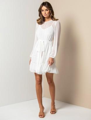 Forever New Fergie Long Sleeve Mini Dress - Porcelain Dobby - 10
