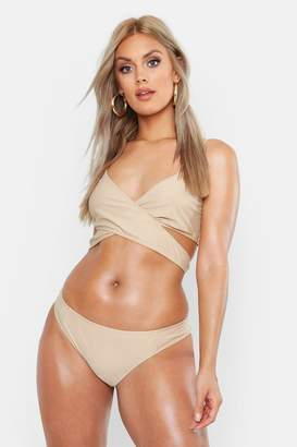 boohoo Plus Cross Front Triangle Bikini