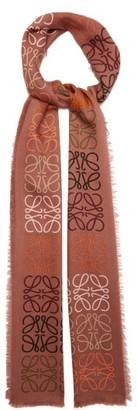 Loewe Anagram-knitted Wool-blend Scarf - Brown