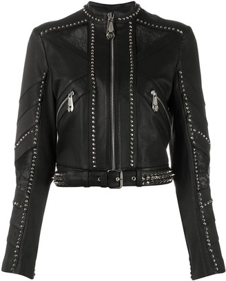 Philipp Plein Studded Cropped Biker Jacket
