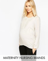 Mama Licious Mama.licious Mamalicious Nursing Long Sleeve Blouse With Crochet Detail