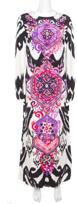 Emilio Pucci Multicolor Ikat Printed Silk Long Sleeve Maxi Dress M
