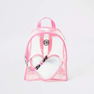 River Island Girls Pink glitter heart vinyl backpack