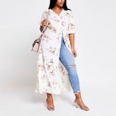 River Island Womens Plus Cream floral short sleeve midi dress