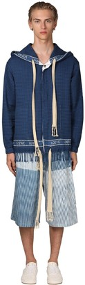 Loewe Hooded Logo Trim Honeycomb Cotton Jacket