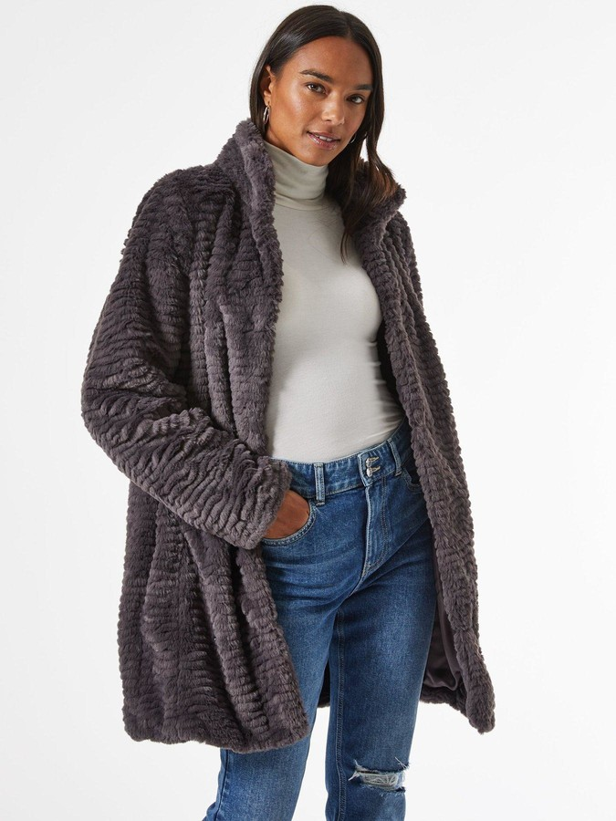 Dorothy Perkins Funnel Collar Textured Longline Faux Fur Coat - Grey