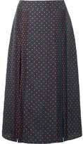 Burberry Pintucked Polka-dot Silk Midi Skirt - Navy